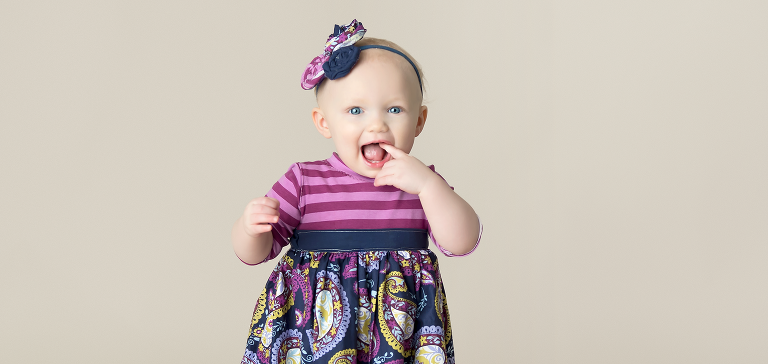 Flower Mound Milestone One Year Girl Vintage Purple Dress